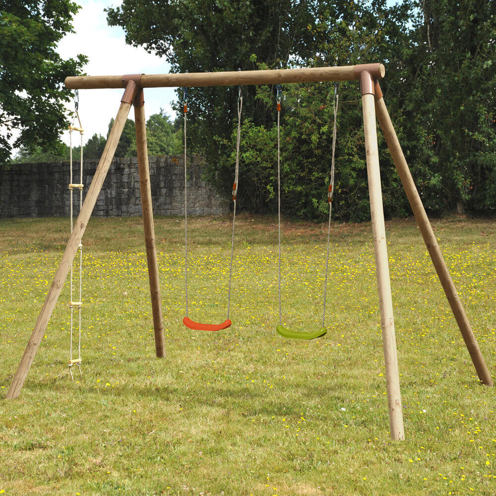 swings scrambler slide and com n swing amazon games wooden toys dp with playset two rock wall