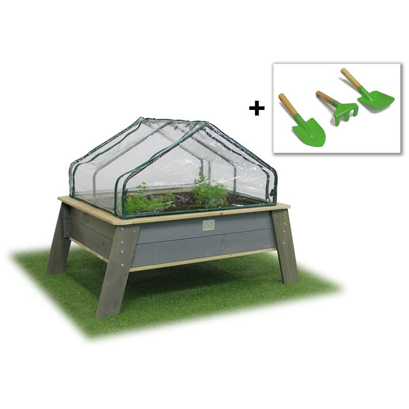 EXIT Toys Aksent Kids Planter Table XL Deluxe with Greenhouse