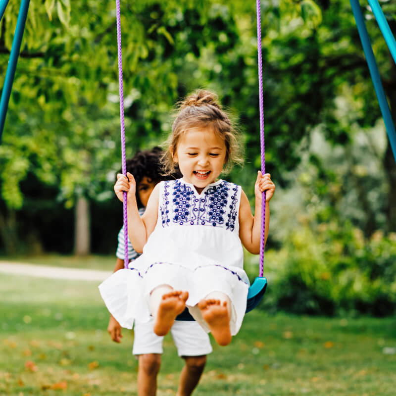 Plum 2-in-1 Metal Swing Set with Two Swing Seats