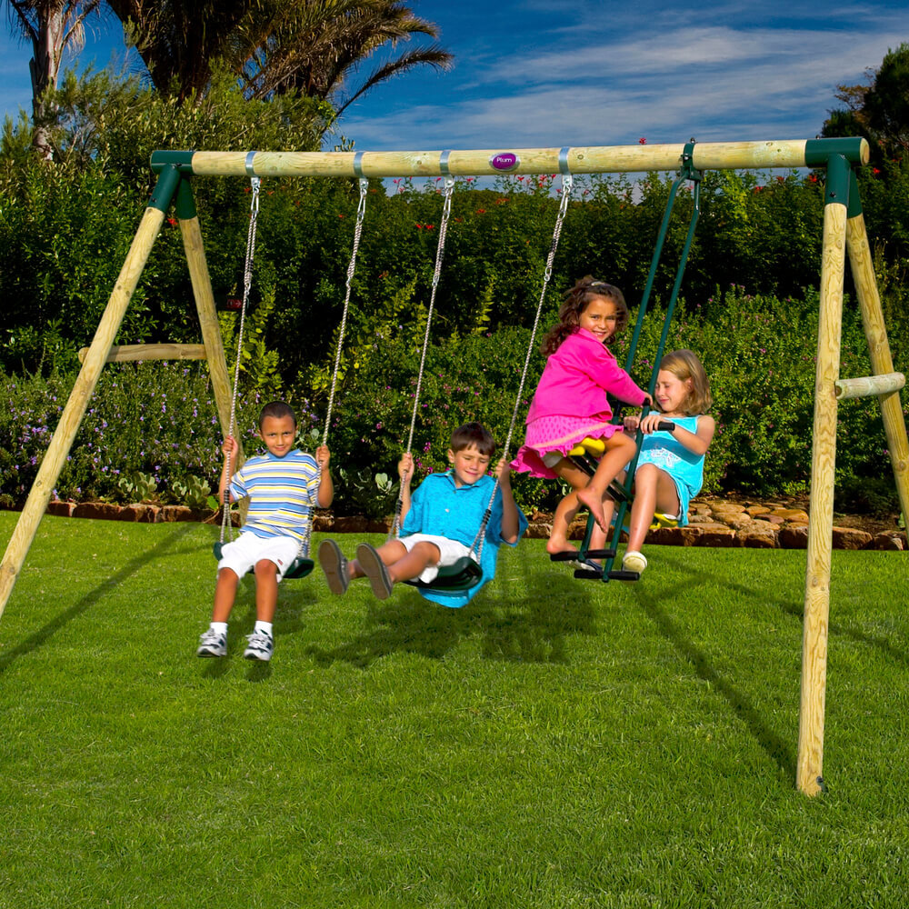 Plum Colobus Wooden Pole Swing Set with FREE Protektamats (Pack of 2)