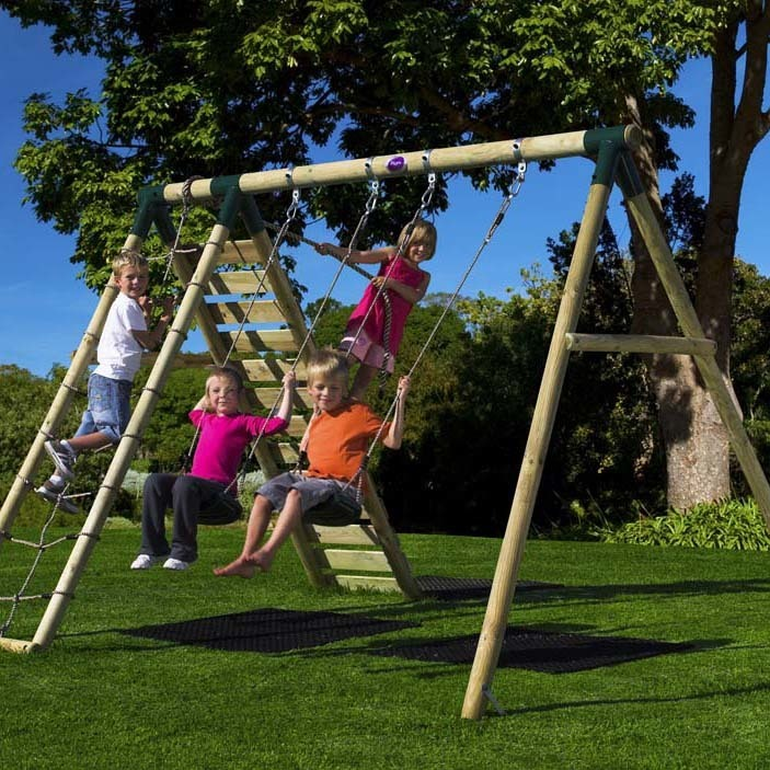 Plum Uakari Wooden Swing Set with FREE Protektamats!