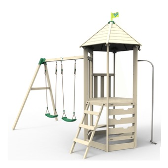 TP Castlewood Tower with Den Pack, Double Swing Set and Crazy Wavy Slide