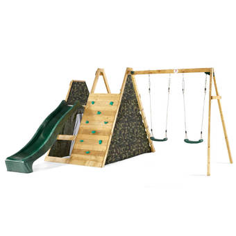 Plum Climbing Pyramid Play Centre with 8ft Slide, and Swings