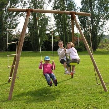 Plum Double Wooden Swing In Wooden Swing Frames At